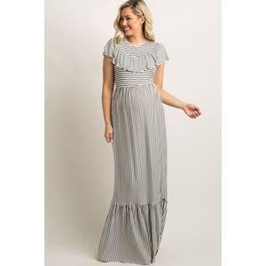 Pinkblush maternity striped ruffle maxi dress